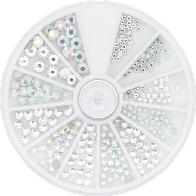Rhinestone Wheel Crystal and Ice 6 sizes 270pcs