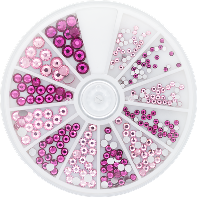 Rhinestone Wheel Roze and Fuchsia 6 sizes 270pcs