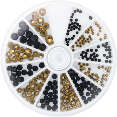 Rhinestone Wheel Black and Gold 6 sizes 270pcs